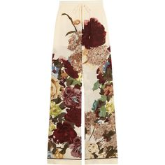 Valentino Floral-print silk crepe de chine wide-leg pants (6.525 RON) ❤ liked on Polyvore featuring pants, bottoms, trousers, valentino, ecru, wide leg trousers, cuff pants, floral cuff pants, pull on pants and blue floral pants