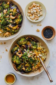 Roasted Veggie Quinoa Bowls with Miso-Turmeric Vinaigrette | Dishing Out Health