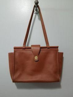 Vintage Coach British Tan Brown Leather Satchel Tote Bag Briefcase 12