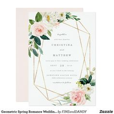 Geometric Spring Romance Wedding Welcome Sign A modern and romantic floral design featuring faux gold geometric lines. Wedding invites - customize your weddings invitations / products. Wedding Reception Invitations, Elegant Wedding Invitations, Wedding Invitation Cards, Bridal Invitations, Zazzle Invitations, Wedding Stationery, Wedding Cards, Wedding Verses, Wedding Rsvp