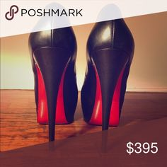 Christian Louboutin Black Lady Peep 150 Calf VIP Authentic Christian Louboutin Black Leather Lady Peep 150 Calf VIP. Size 39 / US 9. Purchased in Paris, receipt included. Original box, dust bag, replacement heel tips all included. Great condition, well looked after Christian Louboutin Shoes Heels