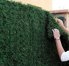 Artificial Hedge Slats Panels for Chain Link Fencing Outdoor Faux Hedge Privacy Screen Fence