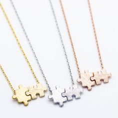 "- Yellow Gold / Silver / Rose Gold Plated - Pendant measures about 5/8"" x 3/8"" - Length about 17"""