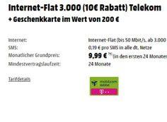Mediamarkt: Drei GByte LTE-Flat im Telekom-Netz für 2,07 Euro dank Gutschein https://www.discountfan.de/artikel/tablets_und_handys/mediamarkt-drei-gbyte-lte-flat-im-telekom-netz-fuer-207-euro-dank-gutschein.php Via Mediamarkt ist jetzt eine LTE-Flat mit drei GByte im Telekom-Netz für rechnerisch nur 2,07 Euro im Monat – möglich macht dies ein Mediamarkt-Gutschein über 200 Euro. Mediamarkt: Drei GByte LTE-Flat im Telekom-Netz für 2,07 Euro dank Gutschein (Bild: Me