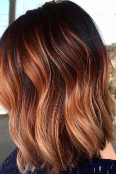 Fabulous Brown Ombre Hair Brown ombre hair color looks super feminine and sexy. Check out trendy color ideas.Brown ombre hair color looks super feminine and sexy. Check out trendy color ideas. Hair Color And Cut, Ombre Hair Color, Auburn Ombre Hair, Dark Ombre Short Hair, Brown Hair With Copper Highlights, Short Hair Ombre Brown, Brunette Color, Brunette Hair, Spring Hairstyles
