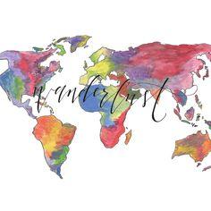 Wanderlust World Map Calligraphy Art Print | Hand-lettered & Watercolor | Etsy Art | Travel Instagram - @acdavidsondesigns