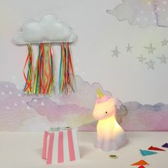 Rechargeable, this cute unicorn night light has 2 brightness settings shining with a warm white glow. Buy unicorn rechargeable night lights at The Glow Company White Unicorn, Little Unicorn, One Balloon, Balloons, The Glow Company, Contemporary Toys, Cloud Lights