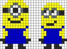 Cray Cray Beaven ~ Despicable Me Minions perler bead pattern -- oh my goodness, how fun is that? I so remember our girls making perler bead crafts back in O. Kandi Patterns, Pearler Bead Patterns, Perler Patterns, Beading Patterns, Cross Stitching, Cross Stitch Embroidery, Cross Stitch Patterns, Pixel Art, Minion Craft