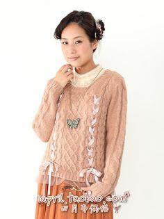 【April Cat】軟妹lolita?Axes 飄帶蝴蝶結兩穿女針織衫開衫毛衣-淘寶網