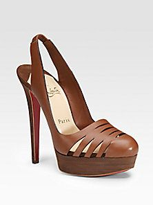 Christian Louboutin - Laser-Cut Leather Slingbacks