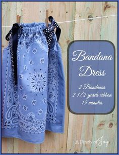How to Make a Bandana Dress Tutorial - 15 Creative DIY Ideas With Bandanas that can easily upscale your bandanas into all types of things. From cute and simple bandana bracelets to cute and stunning band. Sewing Projects For Kids, Sewing For Kids, Diy Projects, Love Sewing, Baby Sewing, Sewing Hacks, Sewing Crafts, Sewing Ideas, Bandana Crafts