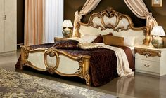 Barocco Traditional Bedroom Set in Ivory / Gold (Bed, 2 Nightsta ...