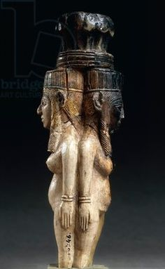 Ivory caryatids supporting a palm shaped capital from Nimrud, Iraq, Assyrian civilization,
