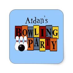KRW Custom Bowling Birthday Party Square Stickers