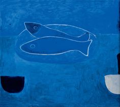 William Scott, Blue Still Life with Two Fish, 1985 or 1986, Oil on canvas, 81 × 91 cm / 32 × 35¾ in, Private collect