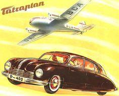 Tatraplan 1949 Airplane - Mad Men Art: The Vintage Advertisement Art Collection Vintage Ads, Vintage Posters, Moto Car, Car Brochure, Automotive Design, Auto Design, Car Advertising, Car Drawings, Retro Art