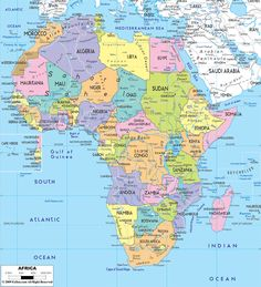 african political map includes north west east and southern african countries