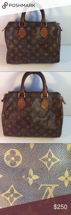 Authentic Louis Vuitton Speedy 25 Monogram Satchel The leather and straps showed signs of used. The canvas and straps had sone scratches. The straps are darker in the middle due to wearing. The inside linen is good. The bag was made in France with a date code SP 0021. The dimension is 7.5, 5 and 10. Louis Vuitton Bags Satchels