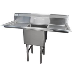 Regency 16 Gauge One Compartment Stainless Steel Commercial Sink with 2 Drainboards - 54 inch Long, 18 inch x 18 inch x 14 inch Compartment Utility Room Sinks, Utility Sink, Utility Room Designs, Commercial Sink, Outdoor Sinks, Freestanding Kitchen, Basement Inspiration, Wash Tubs, Summer Kitchen