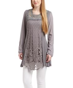 This Gray Crochet V-Neck Linen-Blend Tunic by Pretty Angel is perfect! #zulilyfinds