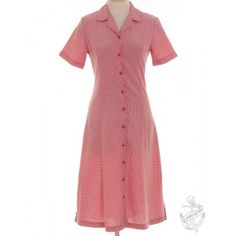 Short Sleeved Dress Red With A Revere Front £29.00