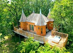 Sleep Among the Trees in an Adorable Mini Castle;he four tiny beauties are called the Châteaux Dans Les Arbres, and are hidden in the lush, green Perigord region of France, about 100 miles outside Bordeaux. And they're not just for show: You can rent them for vacation! (Rates start at about $300 per night.)