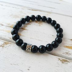 Black Onyx Relief Grounding Bracelet Beaded by Peaceofmindinc