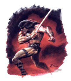 Conan Swing Sword Run Attack Defeat by Bruce Timm Bruce Timm, Conan Der Barbar, Paul Dini, Conan Comics, Conan The Barbarian, Red Sonja, Comic Page, Fantasy Illustration, Cartoon Styles