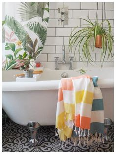 Tips on how to give your bathroom a summer refresh using the tropical trend with these 7 key buys - Maxine Brady from We Love Home Interior Stylist, Home Interior Design, Jungle Bathroom, Bath Rack, Wooden Bath, Clean Space, Bathroom Styling, Bathroom Ideas, Take A Shower