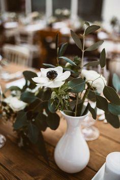 Chic Wedding, Vase, Elegant, Green, Plants, Colour, Home Decor, White Anemone, Wedding Photography