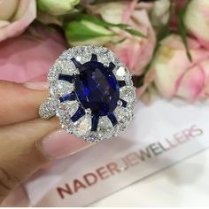 I Like Big #Rings and I Cannot Lie! GORGEOUS! #Sapphire and #Diamond Ring by @naderjewellers #amazing #awesome #diamonds #bola3jewelry
