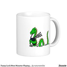Funny Loch Ness Monster Playing Blue Bagpipes Classic White Coffee Mug