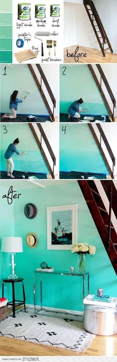 Decora tus paredes con colores y efectos degradados! Hoy,Colores del Mundo de… - #decoracion #homedecor #muebles