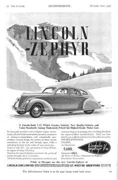 Lincoln Zephyr V12 Car Motor Autocar Advert 1936