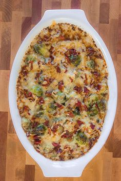 Recipe for Thanksgiving side dish   Gratinéed Brussels Sprouts with prosciutto and Gruyère cheese.