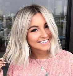 40 New Blonde Bob Hairstyles in 2019 Bob Hairstyles cute bob hairstyles Blonde Bob Hairstyles, Cute Hairstyles For Short Hair, Curly Hair Styles, Blonde Bob Haircut, Bob Haircuts, Wedding Hairstyles, Long Bon Hairstyles, Trendy Hairstyles, 1960s Hairstyles