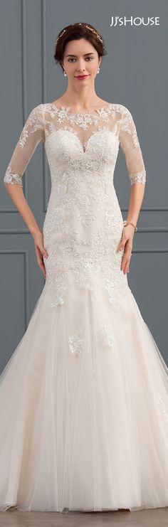 Mermaid Scoop Neck Court Train Tulle Wedding Dress With Sequins #JJsHouse #Weddingdresses