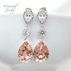 Soft Pink Earrings Cubic Zirconia Teardrop Bridal Earring Swarovski Crystal Vintage Rose Sterling Silver Blush Pastel Colors on Etsy, $47.99 Simply gorgeous
