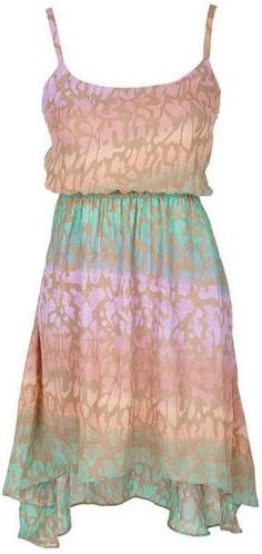 Multi Print High-Low Dress. Love these colors