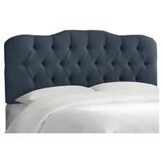 Complete you perfect bedroom with this stylish headboard. Handcrafted, upholstered and finished with diamond tufted detiling, becoming the centerpiece of your bedroom. Manufactured in Illinois. Spot clean only. Attaches to any standard bedframe. Easy assembly required. Order a free 2X2 fabric swatch by emailing targetswatches@skylinefurnituremfg.com.