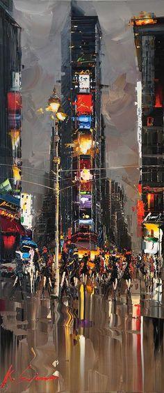"""Kal Gajoum ~ Inspiration of NYC  ~   70""""x30"""""""