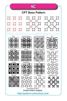 CPT Base Patterns for Beginners - Creative Pattern Tangling Doodle Zen, Zen Doodle Patterns, Doodle Art Designs, Zentangle Patterns, Dibujos Zentangle Art, Zentangle Drawings, Doodles Zentangles, Doodle Drawings, Motif Art Deco