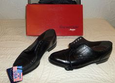 NWB DEXTER USA Made Black Leather Wing Tip Oxford Lace Up Formal Shoes 8.5 M #Dexter #WingTip