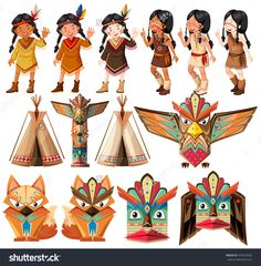 Native American Indians And Traditional Craft Set Illustration - 479516542 : Shutterstock