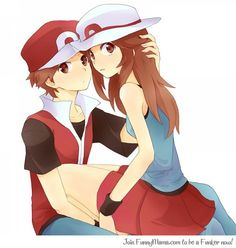 Leaf and Red, getting close! Pokemon Show, Pokemon Manga, Pokemon Red, Pokemon Fan Art, Cute Pokemon, Pokemon Images, Pokemon Pictures, Pokemon Couples, Anime Couples