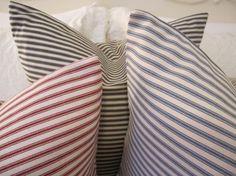 ticking stripe pillows - get ticking fabric from Green Envy Living Ticking Fabric, Ticking Stripe, Home Decor Bedding, Bedroom Decor, Primitive Bedroom, Bedding Inspiration, Soft Furnishings, Boy Room, Dog Bed