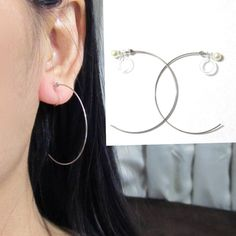 0 5x35mm Large Silver Clip On Hoop Earrings D15s Dainty Invisible Non Pierced Ons Long