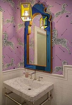love the wallpaper in this powder room - #zebra #bathroom
