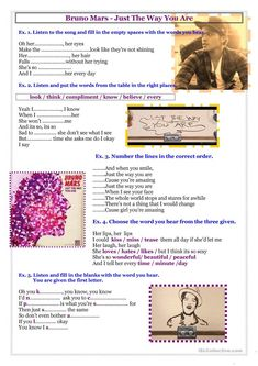 Song - Bruno Mars - Just The Way You Are worksheet - Free ESL printable worksheets made by teachers