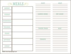 free printable meal planner / via the project girl.